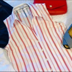 EUC-TOMMY HILFIGER button down sleeveless shirt